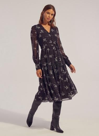 Monamoda Desenli Midi Elbise Siyah